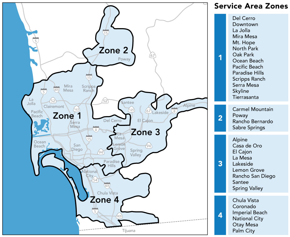 MTS Access Service Area Map