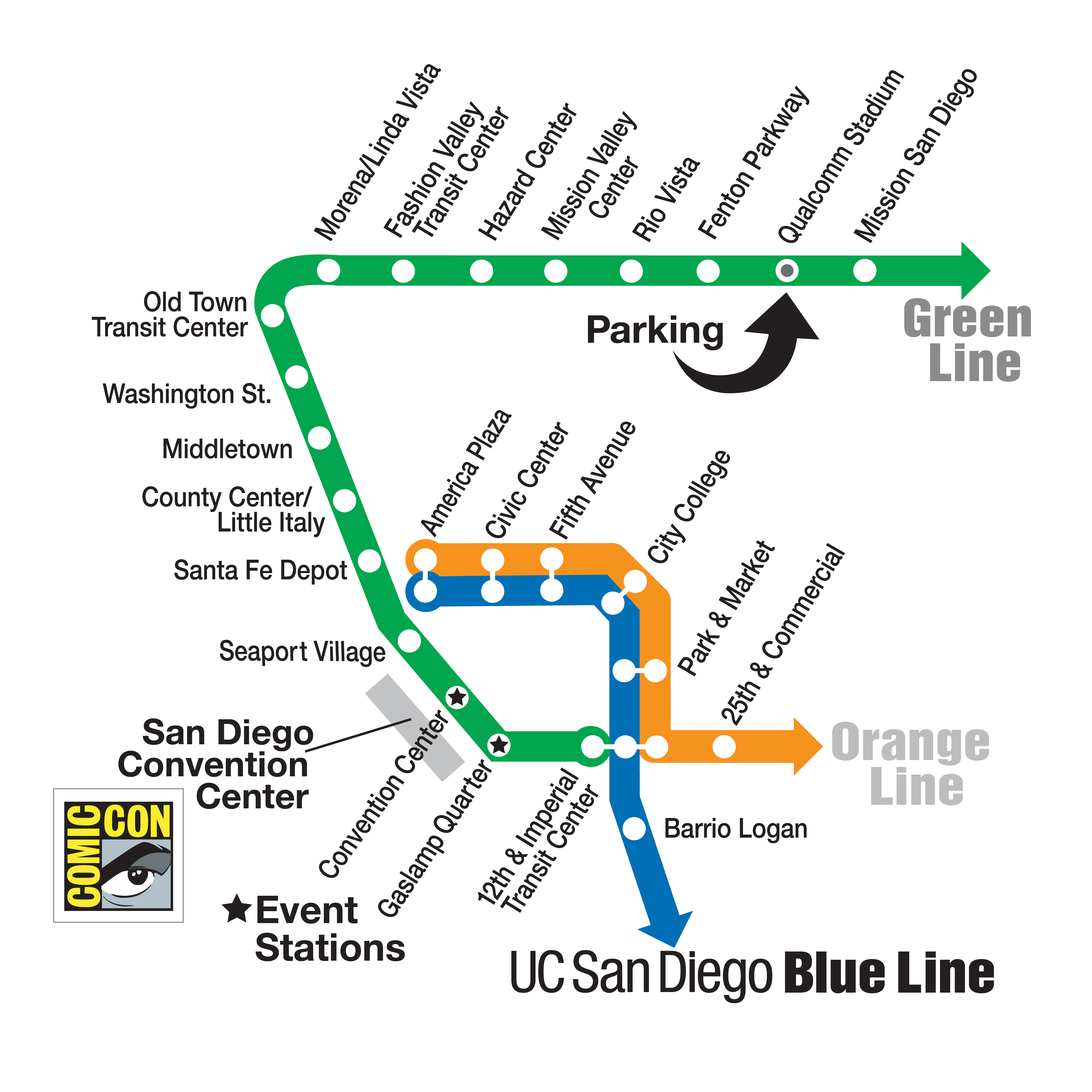 Comic Con Trolley Map