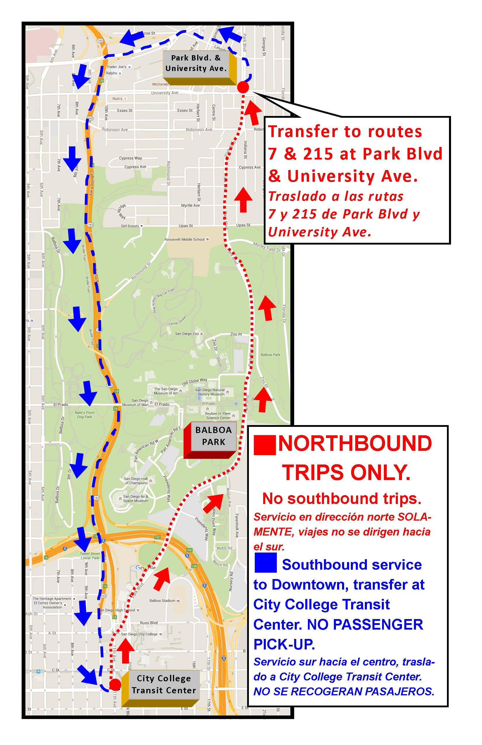 There Will Be Mts Shuttle Service Traveling Northbound Only On Park Blvd Between City College And University Ave