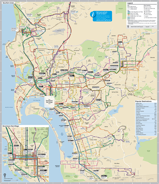 Maps And Routes San Diego Metropolitan Transit System - Transit map
